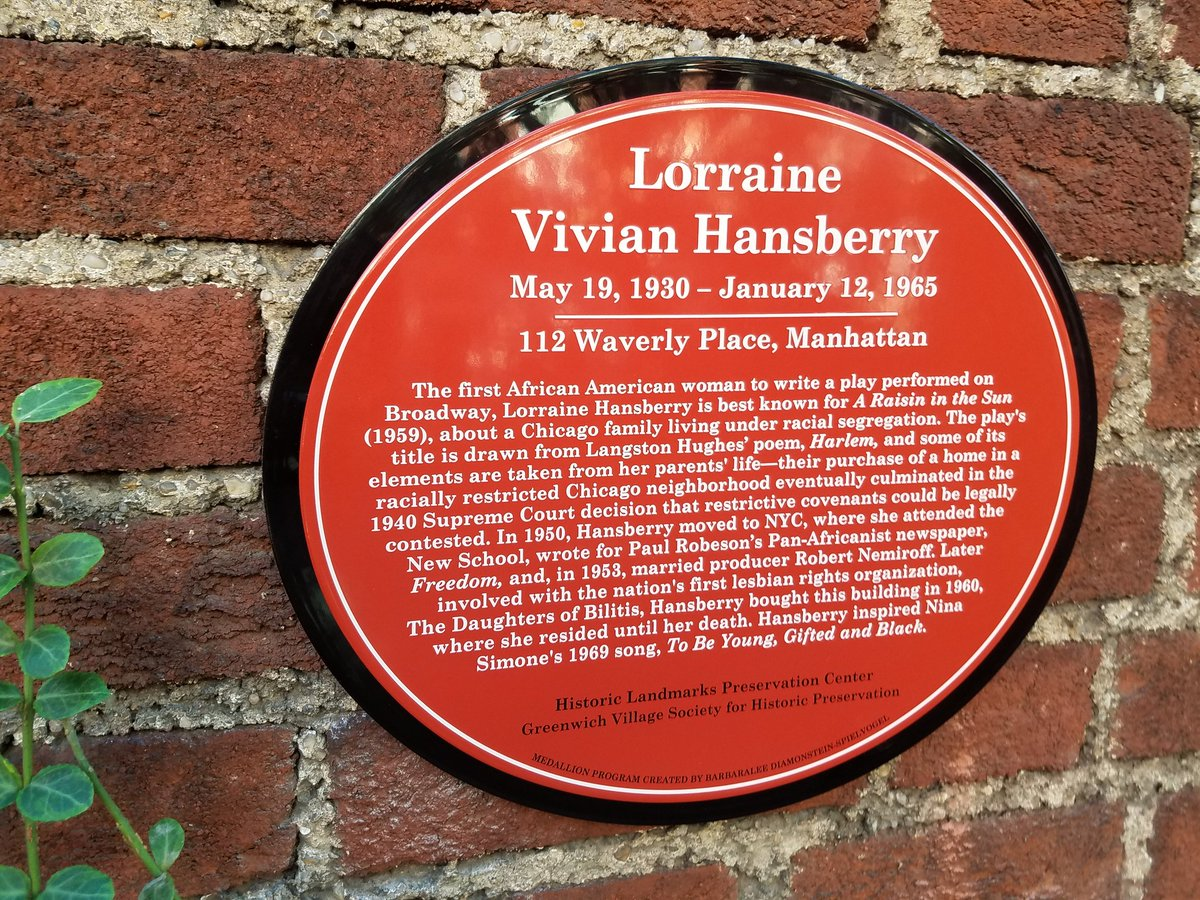 Plaque at Hansberry residence, 112 Waverly Place in Greenwich Village, New York City.