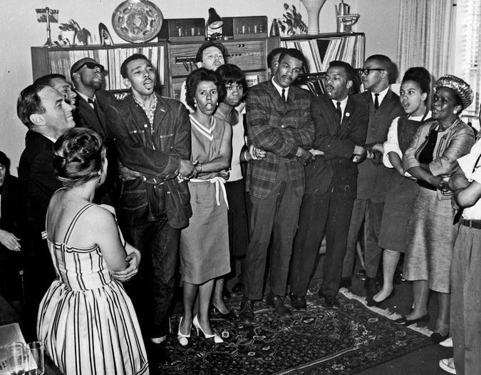 "Lorraine Hansberry during ""impromptu song-session"" at a SNCC fundraiser."