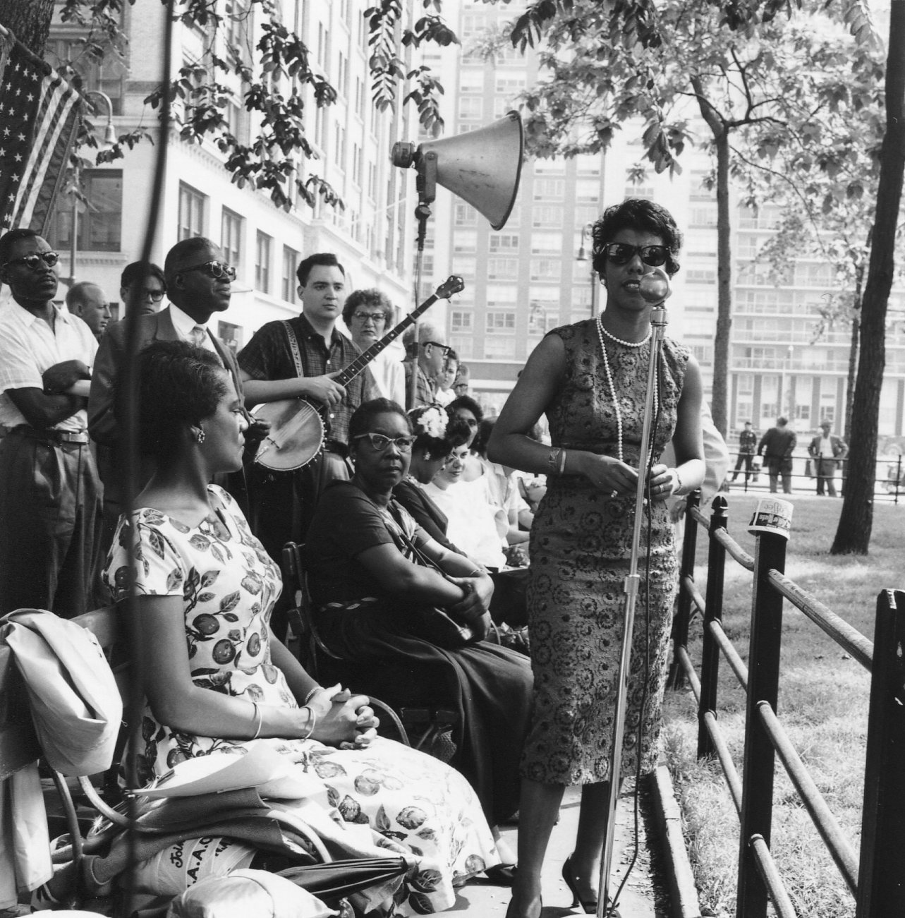 "Daisy Bates and Lorraine Hansberry at ""Village Rallies for NAACP,"" in Washington Square Park, June 13, 1959."