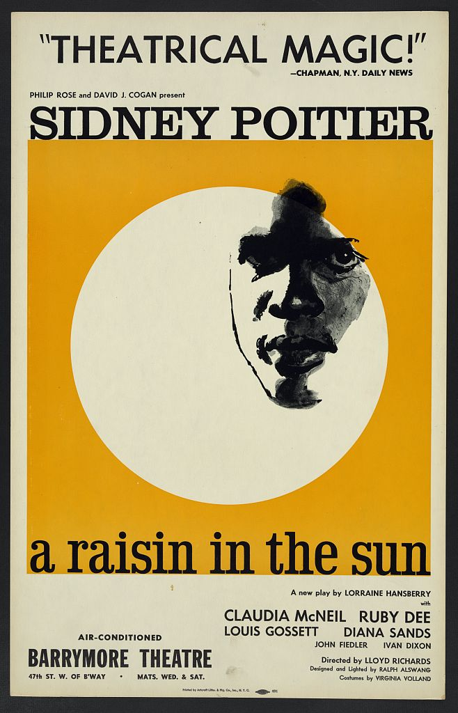 """The 1959 theatrical poster for """"A Raisin in the Sun"""" by Lorraine Hansberryshows the face of African American actor Sidney Poitier highlighted in a white circle on a golden yellow ba"""