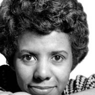 Close-up portrait of Lorraine Hansberry.