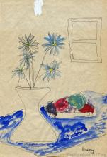 Drawing of flowers by Lorraine Hansberry while a college student between 1948 and 1950.