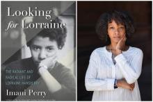 Image of book cover of Looking for Lorraine (Beacon Press, 2018) with image of author Imani Perry (photo by Sameer Khan)