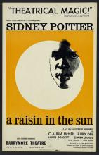 "The 1959 theatrical poster for ""A Raisin in the Sun"" by Lorraine Hansberryshows the face of African American actor Sidney Poitier highlighted in a white circle on a golden yellow ba"