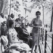Image: Lorraine Hansberry speaking at Washington Square Park rally, June 13, 1959.
