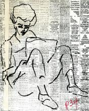 Self-portrait drawn by Lorraine Hansberry in pen & ink on newspaper.